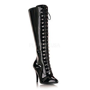 Shoes - 4 Inch High Heel Lace Up Patent Knee High Boots
